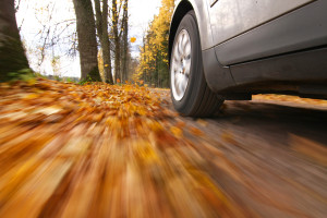 Car driving on country road. Autumn scene, low angle, motion blur.